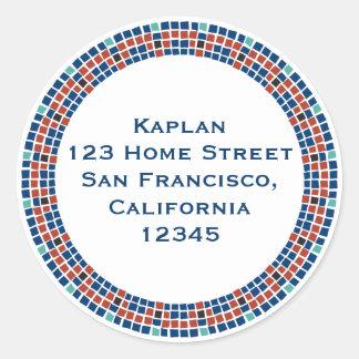 Emanuel Star Mosaic Return Address Label Round Sticker