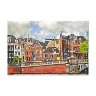 Embankment of Amstel and and TheBlauwbrug. Canvas Print