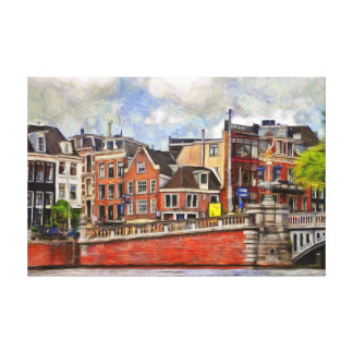 Embankment of the river Amstel and TheBlauwbrug. Canvas Print