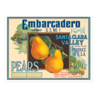 Embarcadero Brand Vintage Crate Label Postcard