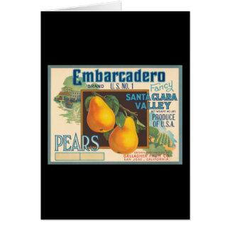 Embarcadero Pears Crate Label Greeting Card