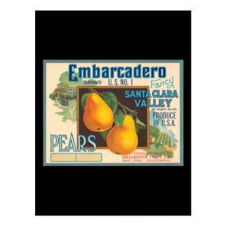 Embarcadero Pears Crate Label Postcard
