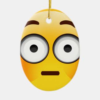Embarrassed Emoji  with flushed cheeks Ceramic Oval Decoration