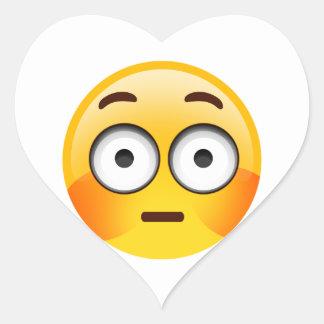 Embarrassed Emoji  with flushed cheeks Heart Sticker