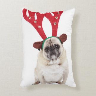 Embarrassed looking Pug wearing Reindeer Antlers Accent Cushion