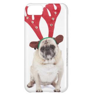 Embarrassed looking Pug wearing Reindeer Antlers iPhone 5C Case