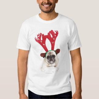 Embarrassed looking Pug wearing Reindeer Antlers Tee Shirts