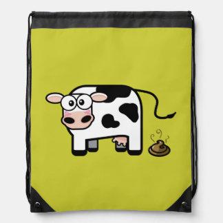 Embarrassed Pooping Cow Drawstring Backpacks