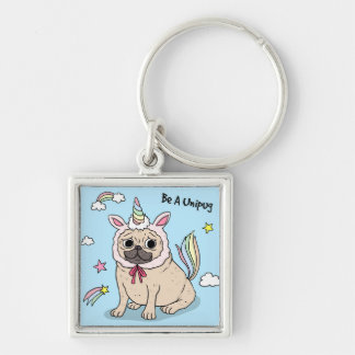 Embarrassed Pug with Unicorn Hat on Key Ring