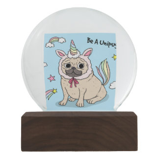 Embarrassed Pug with Unicorn Hat on Snow Globe