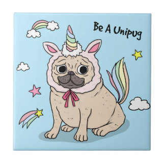 Embarrassed Pug with Unicorn Hat on Tile