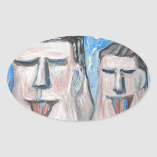 Embarrassing Father and Son ( expressionism) Oval Sticker
