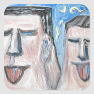 Embarrassing Father and Son ( expressionism) Square Sticker