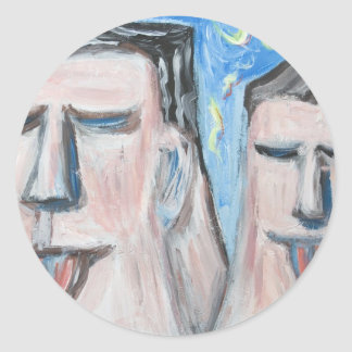 Embarrassing Father and Son ( expressionism) Round Sticker