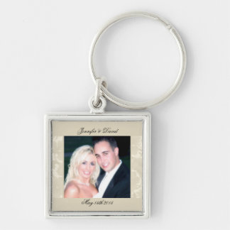 Embassy Floral Ecru Creme Photo Keychain