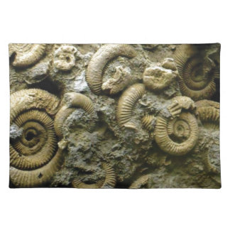 embedded snails fossils placemat