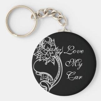 Embelished Heart Basic Round Button Key Ring