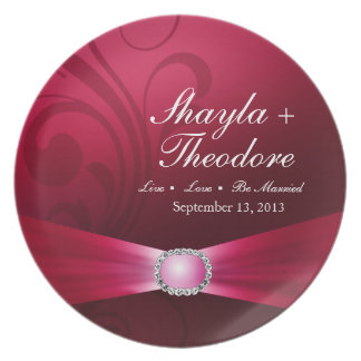 Embellished Diamante Wedding | hot pink Plates
