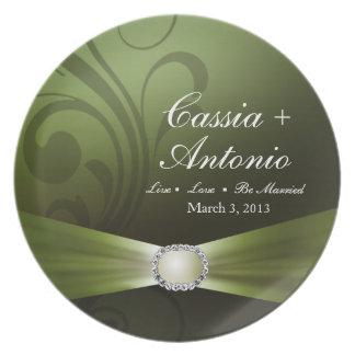 Embellished Diamante Wedding Keepsake | celedon Plate