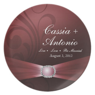 Embellished Diamante Wedding Keepsake | dusky rose Party Plate