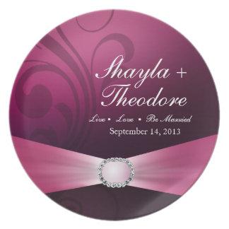 Embellished Diamante Wedding Keepsake | orchid Dinner Plates