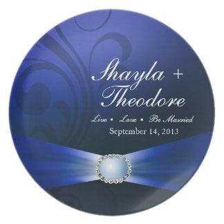 Embellished Diamante Wedding Keepsake | sapphire Dinner Plate