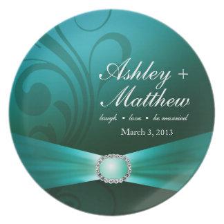 Embellished Diamante Wedding Keepsake | teal Plate