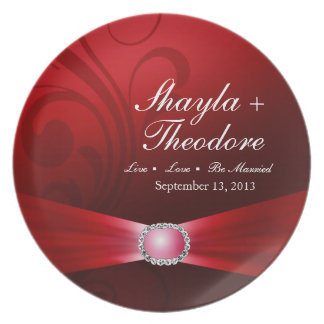 Embellished Diamante Wedding | ruby red Party Plate