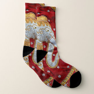 Embellished Indian Elephant Red and Gold 1