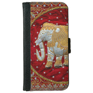 Embellished Indian Elephant Red and Gold iPhone 6 Wallet Case