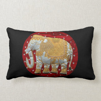 Embellished Indian Elephant Red and Gold Lumbar Cushion