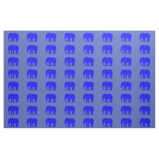 Emblematic Azure Blue Asian Elephant on Stone Blue Fabric