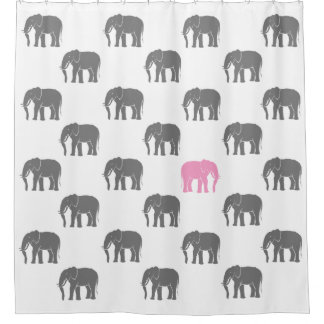Emblematic Pink Elephant Among Grey Ones on White Shower Curtain