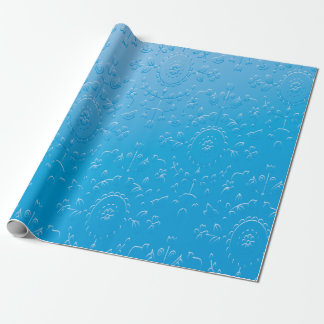 Embossed Blue Flower Abstract Gradient Wrapping Paper