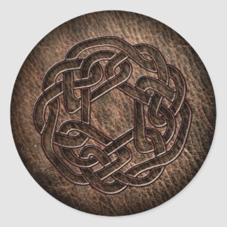 Embossed celtic ornament on leather classic round sticker