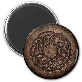 Embossed celtic ornament on leather magnet