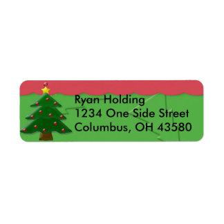 Embossed Christmas Tree Return Address Labels, ... Return Address Label