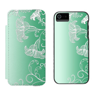 Embossed Day Lilies on Lime Sherbet Background Incipio Watson™ iPhone 5 Wallet Case
