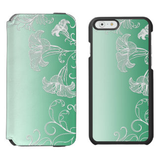 Embossed Day Lilies on Lime Sherbet Background Incipio Watson™ iPhone 6 Wallet Case