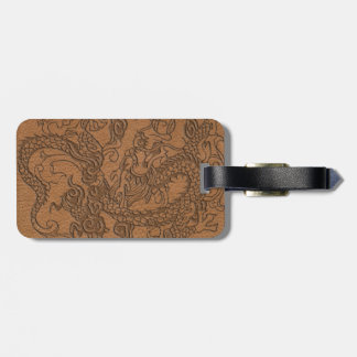 Embossed Dragon On natural Tan Leather Print Luggage Tag