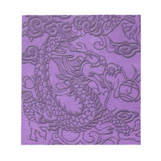 Embossed Dragon on Purple Leather print Notepad
