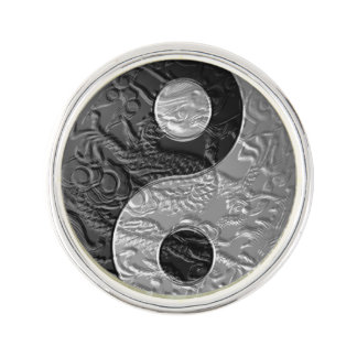 Embossed Dragon Yin Yang Symbol Lapel Pin
