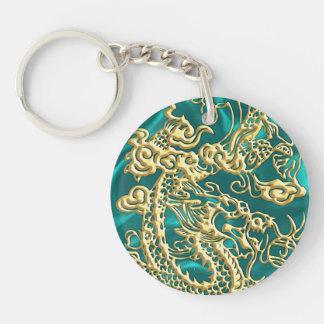 Embossed Gold Dragon on Turquoise Satin Print Key Ring