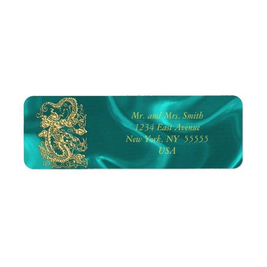 Embossed Gold Dragon on Turquoise Satin Print Return Address Label