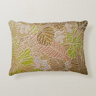Embossed Golden Leaf Accent Pillow