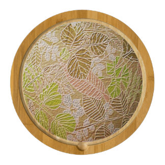 Embossed Golden Leaf Cheese Boards Round Cheese Board