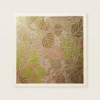 Embossed Golden Leaf Paper Napkins