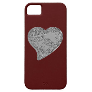 Embossed Heart on Red Case For The iPhone 5