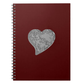 Embossed Heart on Red Notebooks