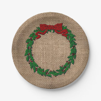 Embossed Holly Wreath Burlap Paper Plate